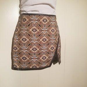 Express Mini Skirt Baroque Print Boho Design